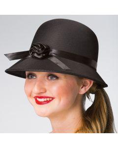 Cappello anni `20 Nero con Dettaglio Fiore