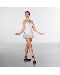 1st Position Mesh insert and Skirted Fashion Leotard White