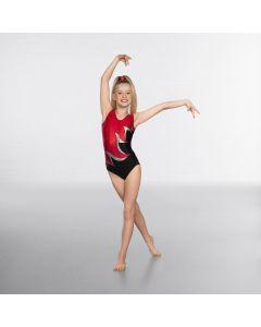 1st Position Premium Gymnastic Body Senza Manica con Gemme - Rosso/Nero