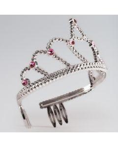Tiara in Plastica Piccola con Pietra Rosa
