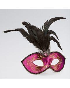 Maschera Oro e Rosa con Glitter, Pietra Preziosa e Piume