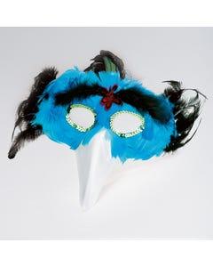 Maschera di Uccello/Becco Piume Turchesi